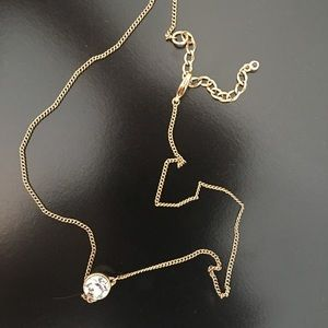 Simple Gold & Cubic Zirconia Necklace